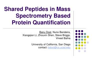 Shared Peptides in Mass Spectrometry Based Protein Quantification