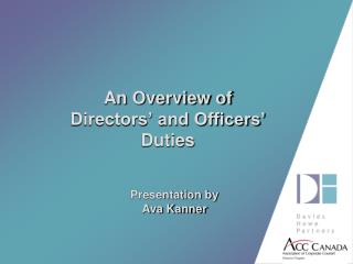 An Overview of  Directors' and Officers' Duties