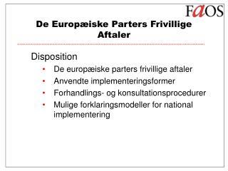 De Europæiske Parters Frivillige Aftaler
