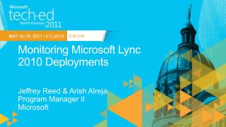 Monitoring Microsoft Lync  2010 Deployments