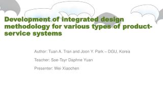 Development of integrated design methodology for various types of product-service  systems