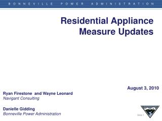 Residential Appliance Measure Updates