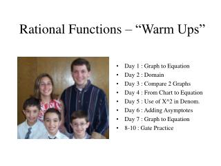 "Rational Functions – ""Warm Ups"""