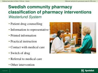 Swedish community pharmacy classification of pharmacy interventions Westerlund System