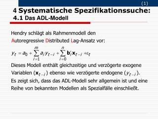 4  Systematische Spezifikationssuche: 4.1 Das ADL-Modell