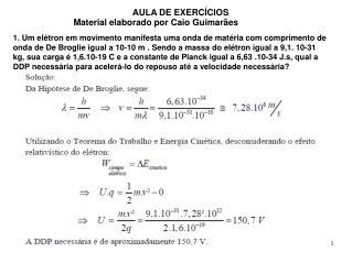 AULA DE EXERCÍCIOS Material elaborado por Caio Guimarães