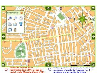 Punto de reunión de la manifestación de DNJ según su cartel (calle Marcelo Usera nº92)