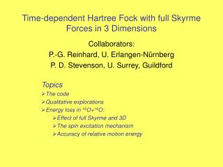 Time-dependent Hartree Fock with full Skyrme Forces in 3 Dimensions