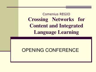 Comenius REGIO Crossing   Networks   for Content and Integrated Language Learning