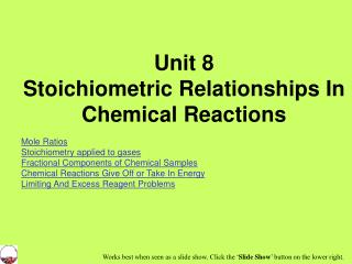 Unit 8 Stoichiometric Relationships In Chemical Reactions Mole Ratios
