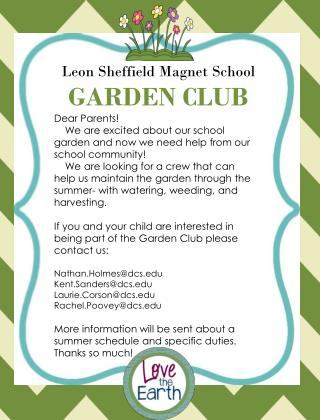 Leon Sheffield Magnet School GARDEN CLUB