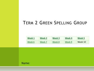 Term 2 Green Spelling Group