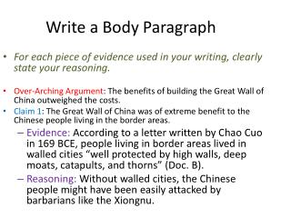 Write  a  Body Paragraph