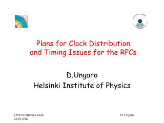 Plans for Clock Distribution and Timing Issues for the RPCs