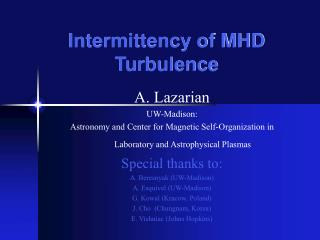 Intermittency of MHD Turbulence