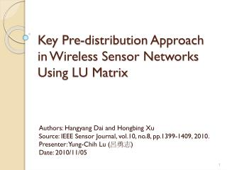 Key Pre-distribution Approach in Wireless Sensor Networks Using LU Matrix