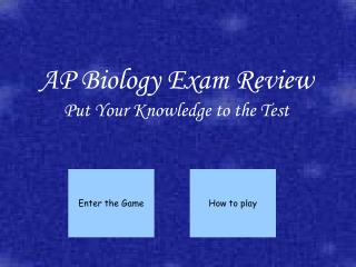 AP Biology Exam Review Put Your Knowledge to the Test