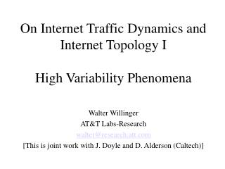 On Internet Traffic Dynamics and Internet Topology I High Variability Phenomena