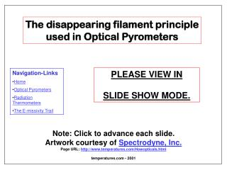The disappearing filament principle used in Optical Pyrometers