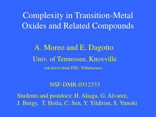Complexity in Transition-Metal Oxides and Related Compounds