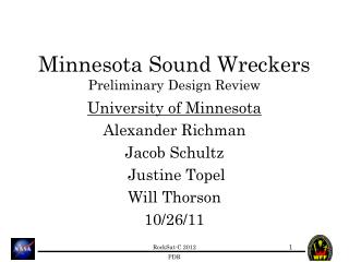 Minnesota Sound Wreckers Preliminary Design Review