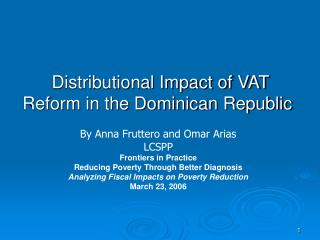 Distributional Impact of VAT Reform in the Dominican Republic