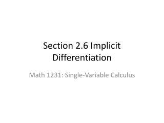 Section 2.6 Implicit Differentiation