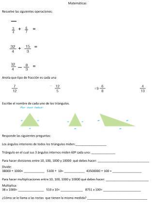 Matemáticas  Resuelve las siguientes operaciones: