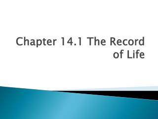 Chapter 14.1 The Record of Life