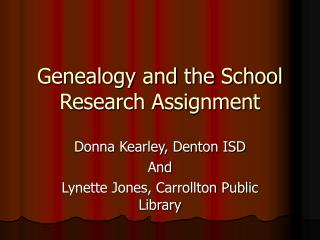 Genealogy and the School Research Assignment