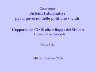 Convegno Sistemi Informativi  per il governo delle politiche sociali