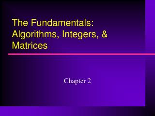 The Fundamentals: Algorithms, Integers, & Matrices