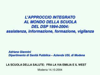 Adriana Giannini Dipartimento di Sanità Pubblica – Azienda USL di Modena