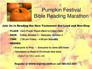 Pumpkin Festival Bible Reading Marathon