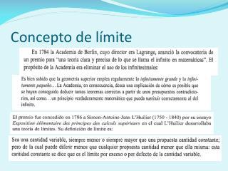 Concepto de l�mite