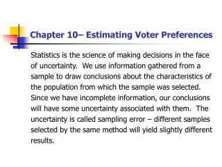 Chapter 10� Estimating Voter Preferences