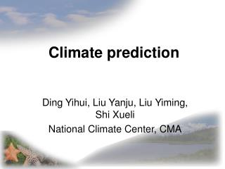 Climate prediction