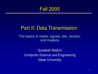 Part II: Data Transmission
