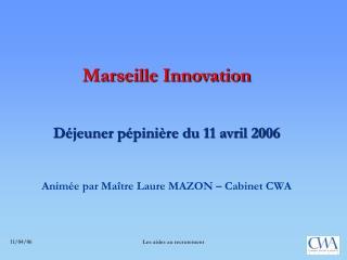 Marseille Innovation Déjeuner pépinière du 11 avril 2006