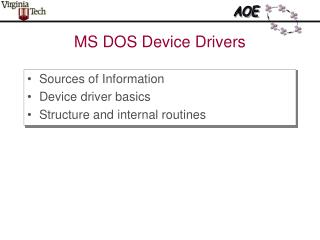 MS DOS Device Drivers