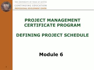 Project Management  Certificate Program  defining project schedule