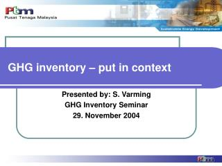 GHG inventory – put in context