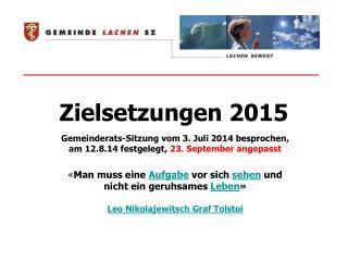 Zielsetzungen 2015