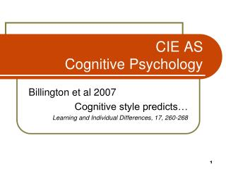 CIE AS Cognitive Psychology