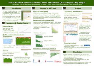 Vervet Monkey Genomics:  Genome Canada and G é nome Qu é bec Physical Map Project