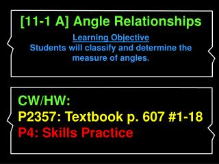 [11-1 A] Angle Relationships