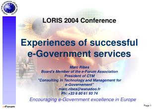 Experiences of successful e-Government services