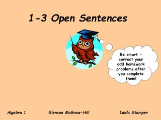 1-3 Open Sentences