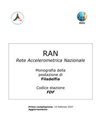RAN Rete Accelerometrica Nazionale Monografia della postazione di Filadelfia Codice stazione FDF