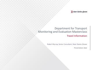 Department for Transport Monitoring and Evaluation Masterclass